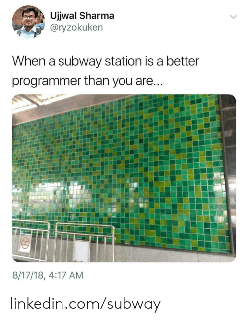 station: Ujjwal Sharma  @ryzokuken  When a subway station is a better  programmer than you are...  8/17/18, 4:17 AM linkedin.com/subway