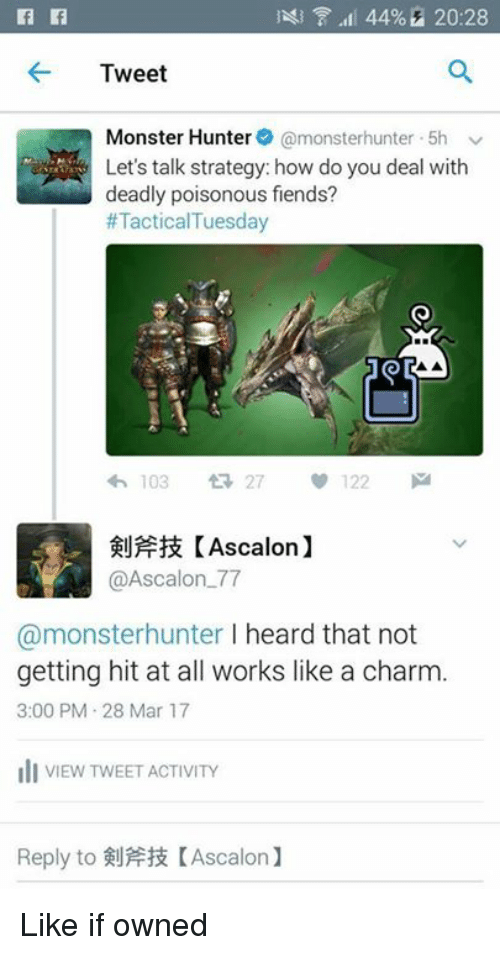 Ull 44 2028 Tweet Monster Hunter Hunter 5h V Let S Talk Strategy