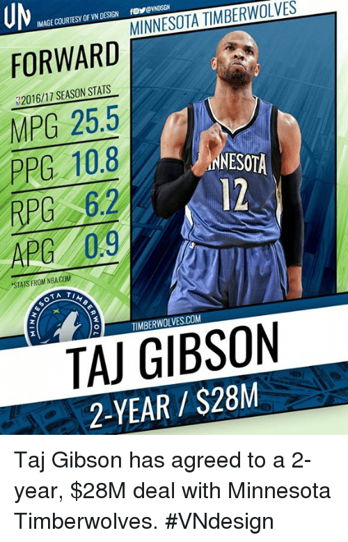 otae: UM  FORWARD  MPG 25.5  PPG 10.8  IMAGE COURTESY OF VN DESIGN  fosevNDSGN  S2016/17 SEASON STATS  ANESOTA  12  APG 0.9  STATS FROM NBA.COM  OTA  TIMBERWOLVES.COM  TAJ GIBSON  2-YEAR $28M Taj Gibson has agreed to a 2-year, $28M deal with Minnesota Timberwolves.  #VNdesign