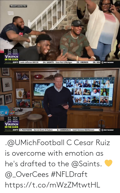 hes: .@UMichFootball C Cesar Ruiz is overcome with emotion as he's drafted to the @Saints. 💛 @_OverCees #NFLDraft https://t.co/mWzZMtwtHL