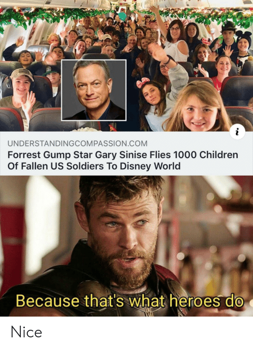 Children, Disney, and Disney World: UNDERSTANDINGCOMPASSION.COM  Forrest Gump Star Gary Sinise Flies 1000 Children  Of Fallen US Soldiers To Disney World  Because that's what heroes do Nice