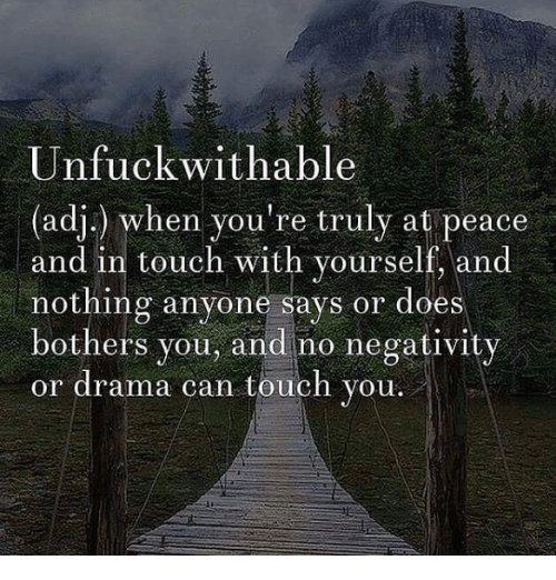 Memes, Touche, and 🤖: Unfuck wit hable  (adj.) when you're truly at peace  and in touch with yourself, and  nothing anyone says or does  bothers you, and no negativity  or drama can touch you.