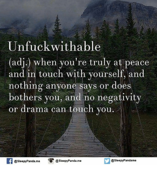 Memes, Panda, and Touche: Unfuck with able  (adj) when you're truly at peace  and in touch with yourself, and  nothing anyone says or does  bothers you, and no negativity  or drama can touch you  f @sleepyPanda me  O @Sleepy Panda.me  @sleepy Pandame