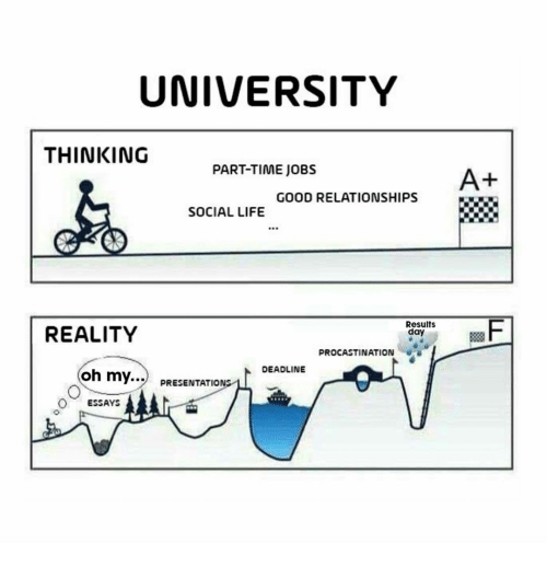 Life, Relationships, and Good: UNIVERSITY  THINKING  PART-TIME JOBS  A+  GOOD RELATIONSHIPS  SOCIAL LIFE  C.R  REALITY  Results  day  PROCASTINATION  DEADLINE  oh my... PRESENTATIONS  ESSAYS