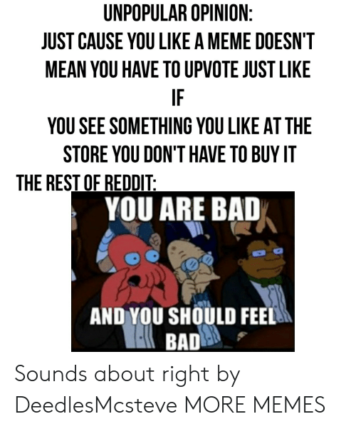 Bad, Dank, and Meme: UNPOPULAR OPINION  JUST CAUSE YOU LIKE A MEME DOESN'T  MEAN YOU HAVE TO UPVOTE JUST LIKE  IF  YOU SEE SOMETHING YOU LIKE AT THE  STORE YOU DON'T HAVE TO BUY IT  THE REST OF REDDIT  YOU ARE BAD  AND YOU SHOULD FEEL Sounds about right by DeedlesMcsteve MORE MEMES
