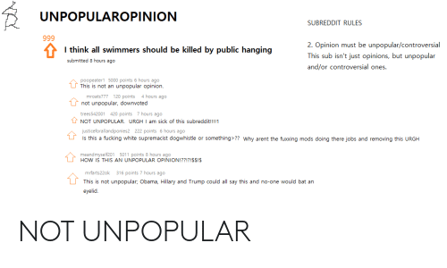 UNPOPULAROPINION SUBREDDIT RULES I Think All Swimmers Should