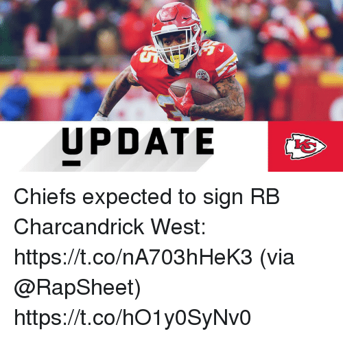 Memes, Chiefs, and 🤖: UPDATE Chiefs expected to sign RB Charcandrick West: https://t.co/nA703hHeK3 (via @RapSheet) https://t.co/hO1y0SyNv0