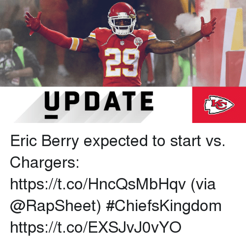 Memes, Chargers, and 🤖: UPDATE Eric Berry expected to start vs. Chargers: https://t.co/HncQsMbHqv (via @RapSheet) #ChiefsKingdom https://t.co/EXSJvJ0vYO