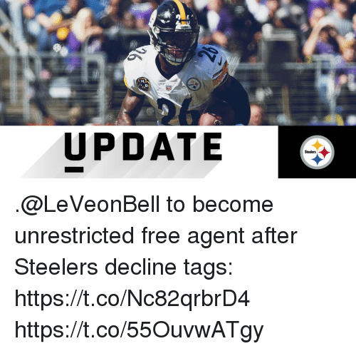 Memes, Free, and Steelers: UPDATE  Steelers .@LeVeonBell to become unrestricted free agent after Steelers decline tags: https://t.co/Nc82qrbrD4 https://t.co/55OuvwATgy