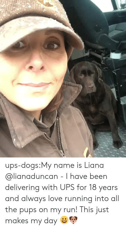 Dogs, Instagram, and Love: ups-dogs:My name is Liana @lianaduncan - I have been delivering with UPS for 18 years and always love running into all the pups on my run! This just makes my day 😀🐶