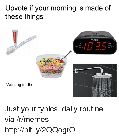 Memes, Radio, and Alarm: Upvote if your morning is made of  these things  TIMEX  0 3.5  ALARM 2  RADIO .  Wanting to die Just your typical daily routine via /r/memes http://bit.ly/2QQogrO