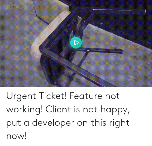right: Urgent Ticket! Feature not working! Client is not happy, put a developer on this right now!