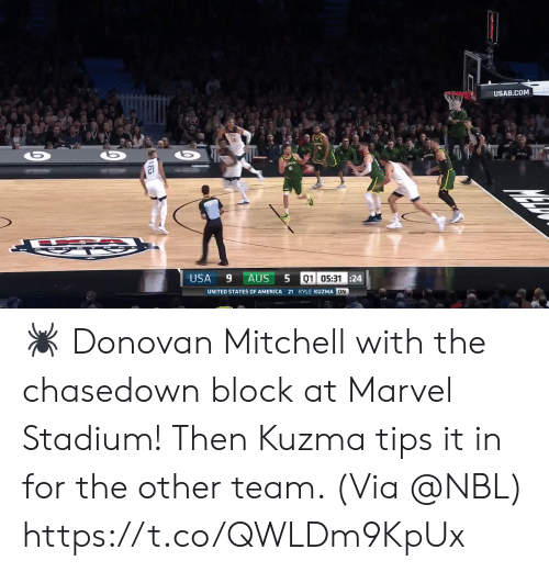 states of america: USAB.COM  21  USA  9 AUS  01 05:3124  UNITED STATES OF AMERICA 21 KYLE KUZMA ON 🕷 Donovan Mitchell with the chasedown block at Marvel Stadium! Then Kuzma tips it in for the other team.   (Via @NBL) https://t.co/QWLDm9KpUx