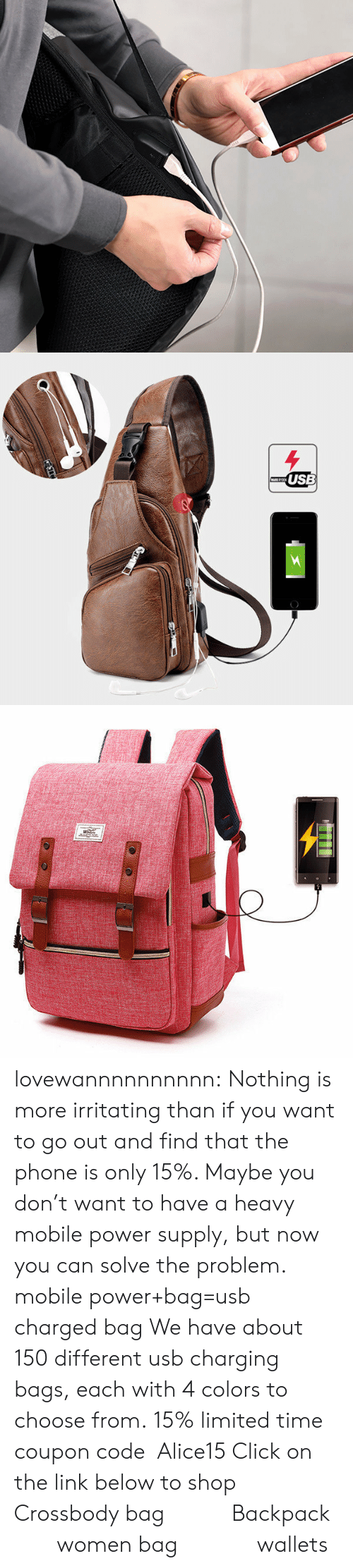 Click, Phone, and Tumblr: USB lovewannnnnnnnnn: Nothing is more irritating than if you want to go out and find that the phone is only 15%. Maybe you don't want to have a heavy mobile power supply, but now you can solve the problem. mobile power+bag=usb charged bag We have about 150 different usb charging bags, each with 4 colors to choose from. 15% limited time coupon code:Alice15 Click on the link below to shop Crossbody bag      Backpack     women bag       wallets