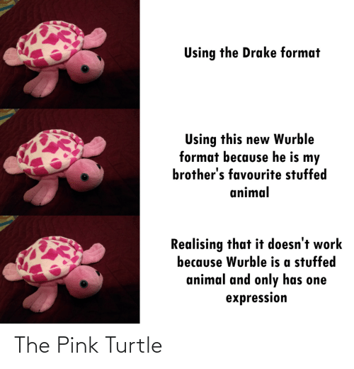 Drake, Work, and Animal: Using the Drake format  Using this new Wurble  format because he is my  brother's favourite stuffed  animal  Realising that it doesn't work  because Wurble is a stuffed  animal and only has one  expression The Pink Turtle