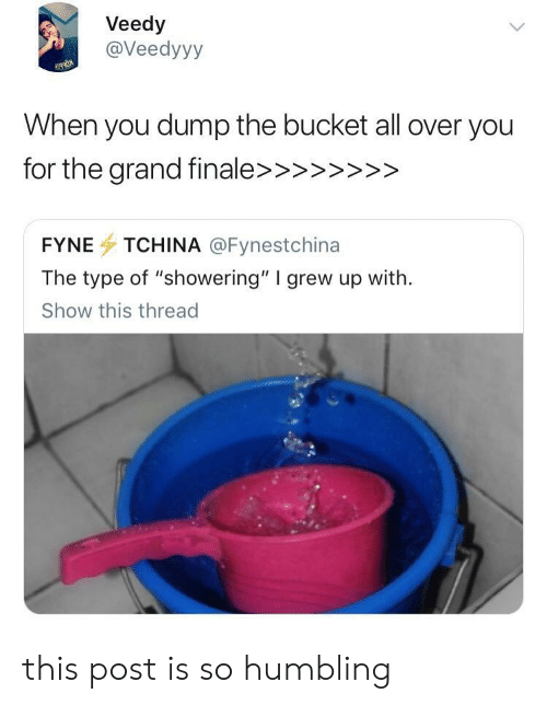 """All, You, and Show: Veedy  @Veedyyy  When you dump the bucket all over you  FYNE TCHINA @Fynestchina  The type of """"showering"""" I grew up with.  Show this thread this post is so humbling"""