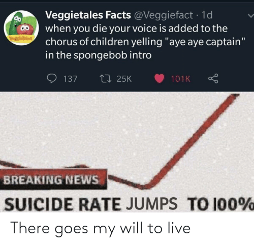 "SpongeBob: Veggietales Facts @Veggiefact · 1d  when you die your voice is added to the  chorus of children yelling ""aye aye captain""  in the spongebob intro  VegsieTales  27 25K  137  101K  BREAKING NEWS  SUICIDE RATE JUMPS TO 100% There goes my will to live"