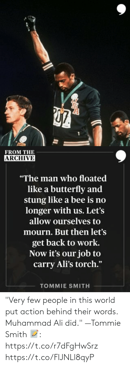 """Smith: """"Very few people in this world put action behind their words. Muhammad Ali did."""" —Tommie Smith   📝: https://t.co/r7dFgHwSrz https://t.co/FlJNLl8qyP"""