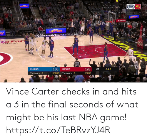 Game: Vince Carter checks in and hits a 3 in the final seconds of what might be his last NBA game!   https://t.co/TeBRvzYJ4R