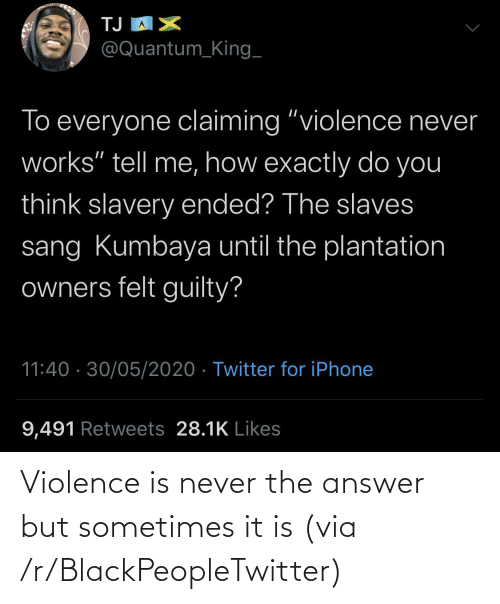 The Answer: Violence is never the answer but sometimes it is (via /r/BlackPeopleTwitter)