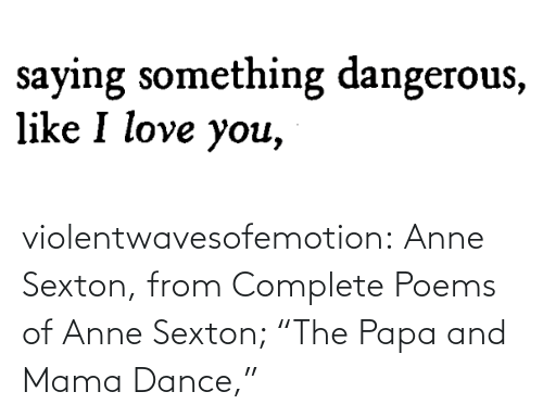 """mama: violentwavesofemotion:    Anne Sexton, from Complete Poems of Anne Sexton; """"The Papa and Mama Dance,"""""""