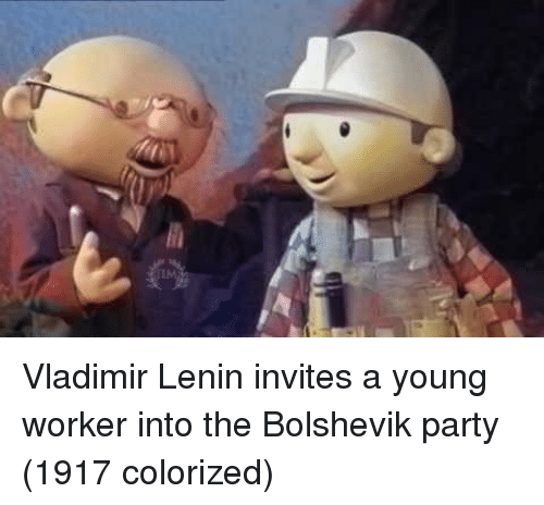 Vladimir: Vladimir Lenin invites a young worker into the Bolshevik party (1917 colorized)