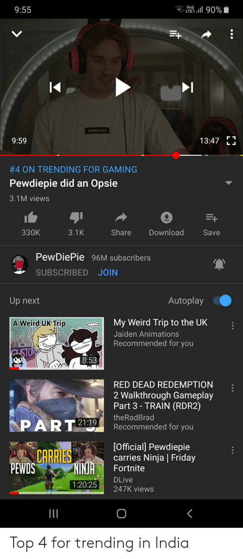 Friday, Weird, and Converse: Vo)  t LTE1.  11190%  9:55  CuncH  CONVERSE TOKYO  9:59  13:47  LL  #4 ON TRENDING FOR GAMING  Pewdiepie did an Opsie  3.1M views  Download  Share  330K  3.1K  Save  PewDiePie 96M subscribers  SUBSCRIBED JOIN  Autoplay  Up next  My Weird Trip to the UK  A Weird UK Trip  Jaiden Animations  Recommended for you  ISTON  8:53  RED DEAD REDEMPTION  2 Walkthrough Gameplay  Part 3-TRAIN (RDR2)  theRadBrad  PART  21:19  Recommended for you  [Official] Pewdiepie  carries Ninja Friday  CARRIES  NINJA  PEWDS  Fortnite  DLive  1:20:25  247K views Top 4 for trending in India