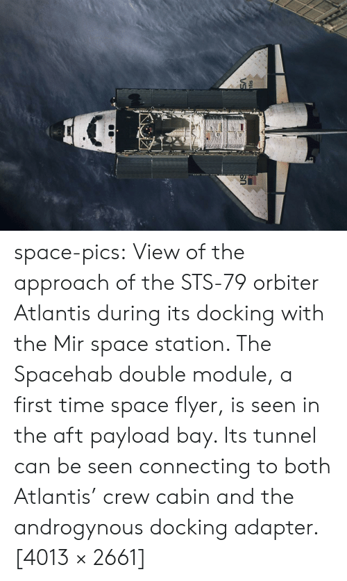 station: VS  htis space-pics:  View of the approach of the STS-79 orbiter Atlantis during its docking with the Mir space station. The Spacehab double module, a first time space flyer, is seen in the aft payload bay. Its tunnel can be seen connecting to both Atlantis' crew cabin and the androgynous docking adapter.[4013 × 2661]