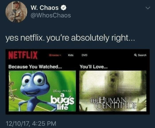 because: W. Chaos  @WhosChaos  yes netflix. you're absolutely right...  NETFLIX  Browne  Q Search  DVD  Kids  Because You Watched...  You'll Love...  DENy PIXAR  bugs  life  HHUMAN  CENTIPEDE  12/10/17, 4:25 PM
