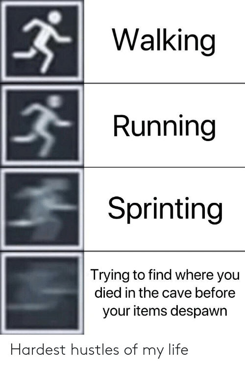 You Died: Walking  Running  Sprinting  Trying to find where you  died in the cave before  your items despawr Hardest hustles of my life