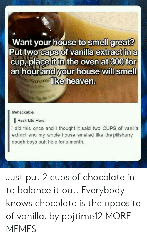 Monthly: Want your house to smell great?  Put two caps of vanilla extract in a  cup, place it in the oven at 300 for  an hour and your house will smell  ke heaven.  e-Stren  lifehackable:  I Hack Life Here  I did this once and thought it said two CUPS of vanila  extract and my whole house smelled like the pillsburry  dough boys butt hole for a month. Just put 2 cups of chocolate in to balance it out. Everybody knows chocolate is the opposite of vanilla. by pbjtime12 MORE MEMES