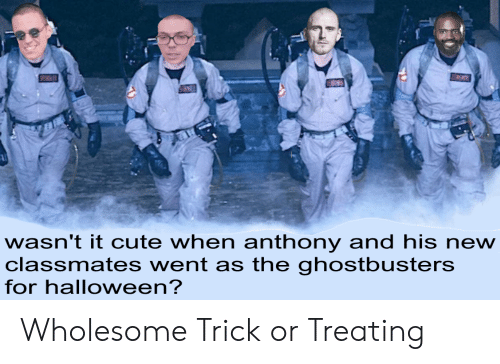 Cute, Halloween, and Wholesome: wasn't it cute when anthony and his new  classmates went as the ghostbusters  for halloween? Wholesome Trick or Treating