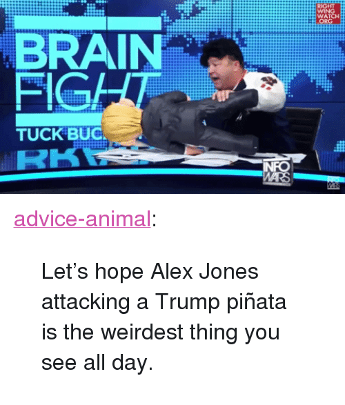 """Pinata: WATCH  BRAIN  FIGA  TUCK BUC <p><a href=""""http://advice-animal.tumblr.com/post/162288785986/lets-hope-alex-jones-attacking-a-trump-pi%C3%B1ata-is"""" class=""""tumblr_blog"""">advice-animal</a>:</p>  <blockquote><p>Let's hope Alex Jones attacking a Trump piñata is the weirdest thing you see all day.</p></blockquote>"""