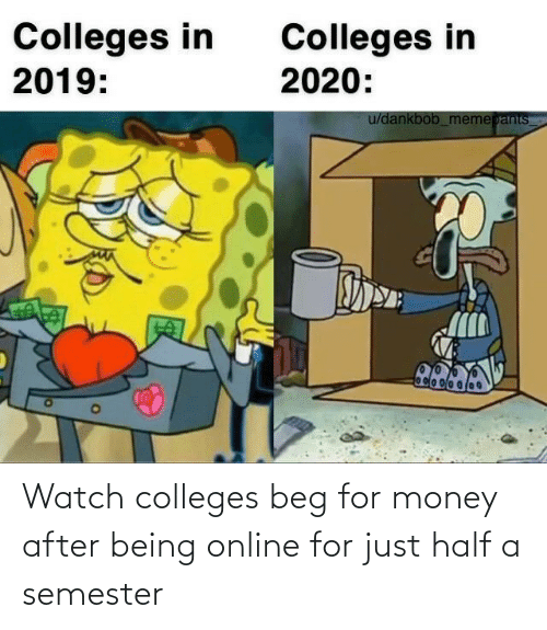 Half: Watch colleges beg for money after being online for just half a semester