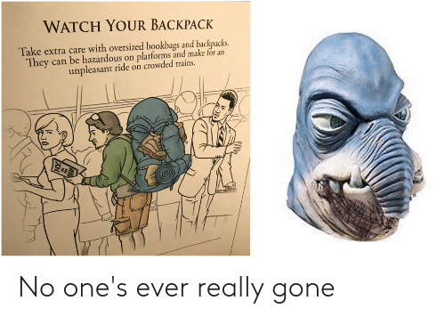 Watch, Gone, and Can: WATCH YOUR BACKPACK  Take extra care with oversized bookbags and backpacks  They can be hazardous on platforms and make for an  unpleasant ride on crowded trains. No one's ever really gone