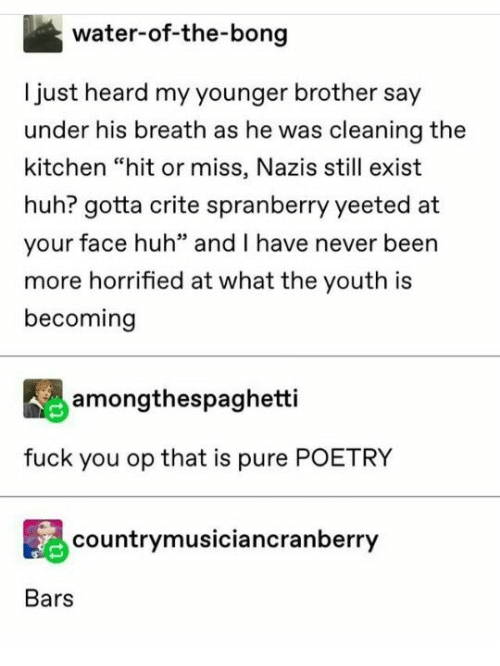 """Fuck You, Huh, and Fuck: water-of-the-bong  Ijust heard my younger brother say  under his breath as he was cleaning the  kitchen """"hit or miss, Nazis still exist  huh? gotta crite spranberry yeeted at  your face huh"""" and I have never been  more horrified at what the youth is  becoming  amongthespaghetti  fuck you op that is pure POETRY  countrymusiciancranberry  Bars"""