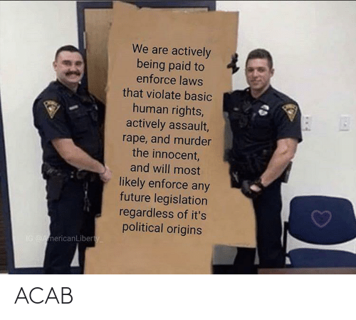 political: We are actively  being paid to  enforce laws  that violate basic  human rights,  actively assault,  rape, and murder  the innocent,  and will most  likely enforce any  future legislation  regardless of it's  political origins  IG AmericanLiberty ACAB