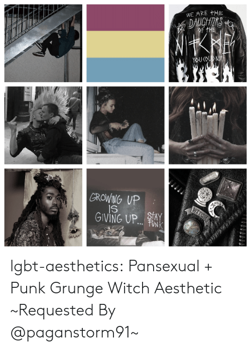 grunge: WE ARE +HE  GROWING UP  GIVING UP.. lgbt-aesthetics:  Pansexual + Punk  Grunge  Witch Aesthetic ~Requested By @paganstorm91~
