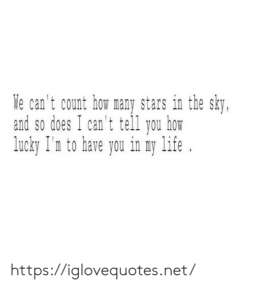 I Cant Tell: We can't count how many stars in the sky,  and so does I can't tell you how  lucky I'n to have you in my life https://iglovequotes.net/