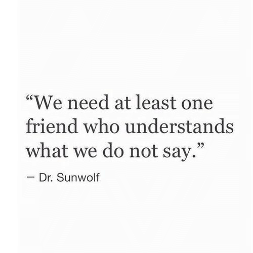 """Who, One, and Friend: """"We need at least one  friend who understands  what we do not say.""""  92  Dr. Sunwolf"""