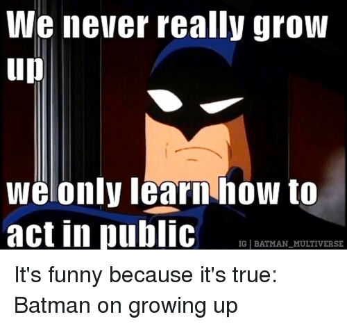 Its Funny Because Its True: We never really grow  up  We only learn how to  act in public  IG BATMAN MULTIVERSE It's funny because it's true: Batman on growing up
