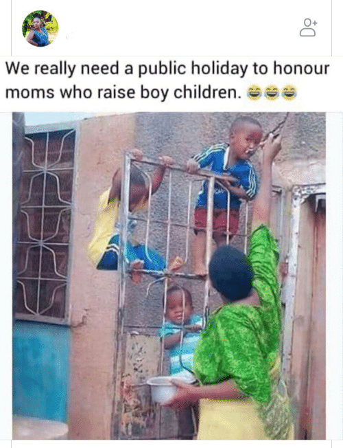 really: We really need a public holiday to honour  moms who raise boy children. se