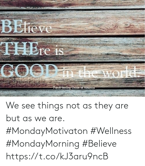 Love for Quotes: We see things not as they are  but as we are.  #MondayMotivaton #Wellness  #MondayMorning #Believe https://t.co/kJ3aru9ncB