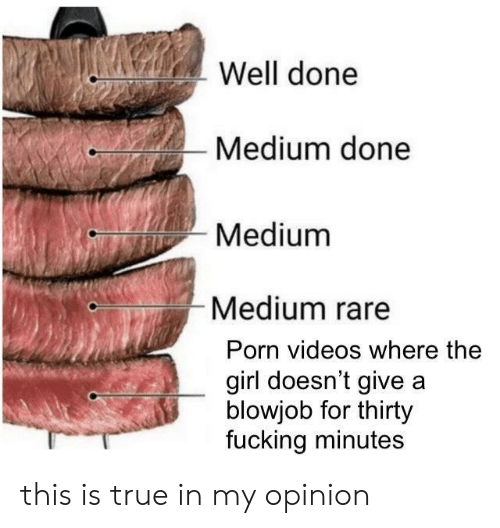 Blowjob, Fucking, and True: Well done  Medium done  Medium  Medium rare  Porn videos where the  girl doesn't give a  blowjob for thirty  fucking minutes this is true in my opinion