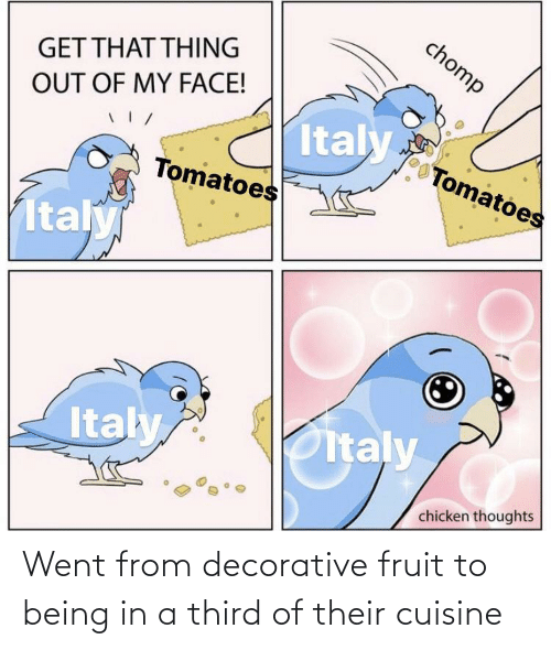 went: Went from decorative fruit to being in a third of their cuisine