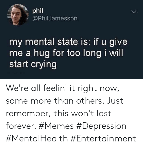 were: We're all feelin' it right now, some more than others. Just remember, this won't last forever. #Memes #Depression #MentalHealth #Entertainment