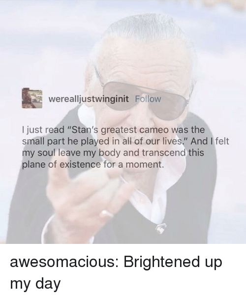 """Tumblr, Blog, and Http: werealljustwinginit Follow  I just read """"Stan's greatest cameo was the  small part he played in all of our lives."""" And I felt  my soul leave my body and transcend this  plane of existence for a moment. awesomacious:  Brightened up my day"""