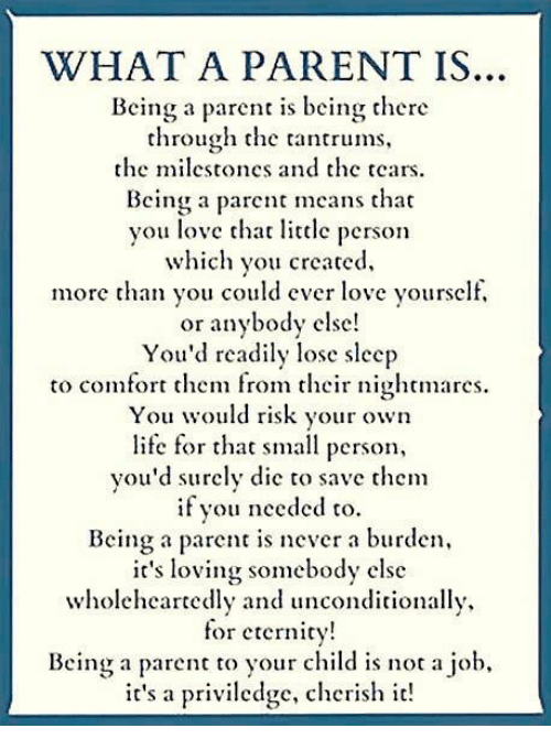 comfortability: WHAT A PARENT IS  Being a parent is being there  through the  tantrums,  he milcstones and thc tears.  Bcing a paet ans tha  you love thar litclc person  which you creaced,  more than you could ever love yourself,  or anybody cisc  You'd readily lose sleep  to comfort them from their nightmares.  You would risk your own  life for that small person,  you'd surely die to save them  fou nceded to  Being a parent is never a burden,  t's loVing Somebody clse  Wholclhcartclly and unconditionally,  for eternicy  Bein a paren o your child is not a job,  it's a priviledge, cherish it!