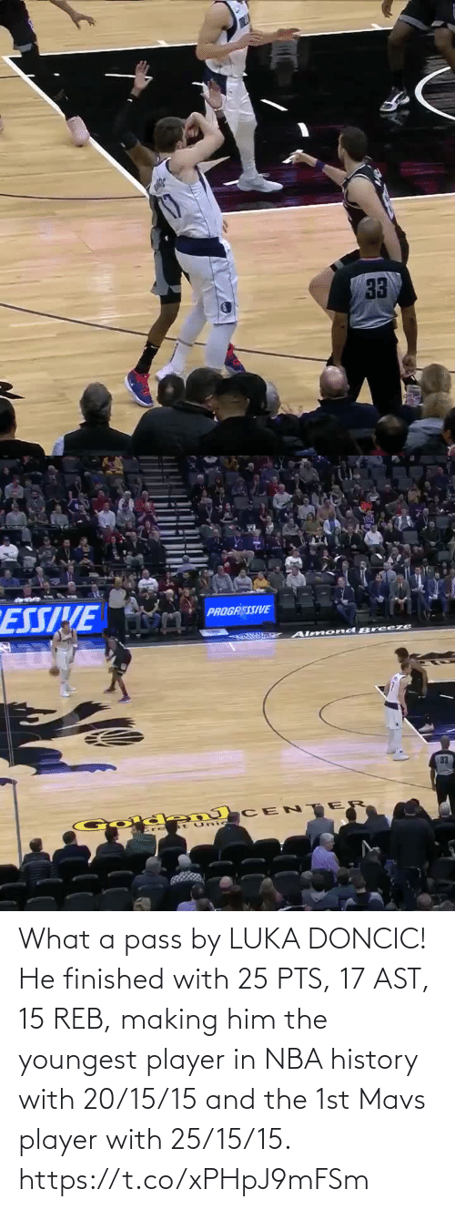 History: What a pass by LUKA DONCIC!   He finished with 25 PTS, 17 AST, 15 REB, making him the youngest player in NBA history with 20/15/15 and the 1st Mavs player with 25/15/15.    https://t.co/xPHpJ9mFSm