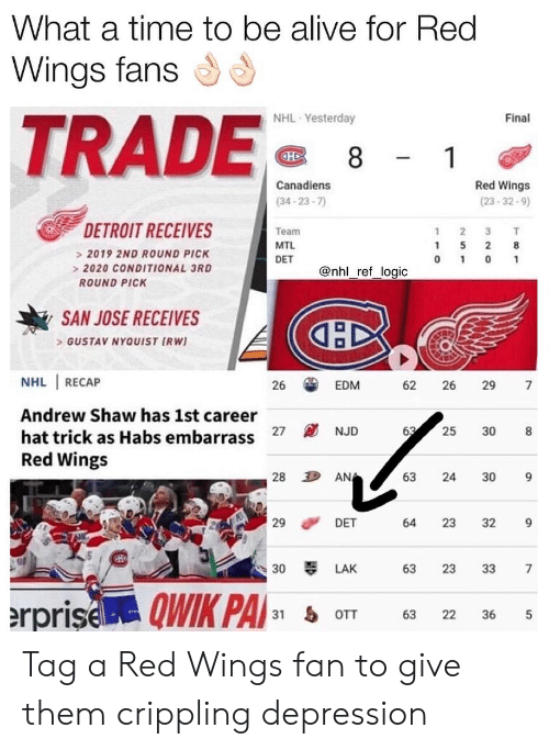Alive, Detroit, and Logic: What a time to be alive for Red  Wings fans  TRADE  NHL Yesterday  Final  Canadiens  (34-23-7  Red Wings  (23-32-9)  DETROIT RECEIVES  Team  MTL  2019 2ND ROUND PICK  2020 CONDITIONAL 3RD  ROUND PICK  @nhl_ref_logic  SAN JOSE RECEIVES  GUSTAV NYQUIST IRW)  NHL RECAP  Andrew Shaw has 1st career  hat trick as Habs embarrass  Red Wings  26  EDM  62 26 29 7  27 NJD  25 308  28  AN  63 24 30 9  29 DET  30 LAK 63 23 33 7  31 oTT 63 22 36 5  64 23 32 9 Tag a Red Wings fan to give them crippling depression